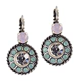 Mariana Pina Colada Roundel Drop Earrings, Silver Plated with Pink Crystal 1048/2 1063