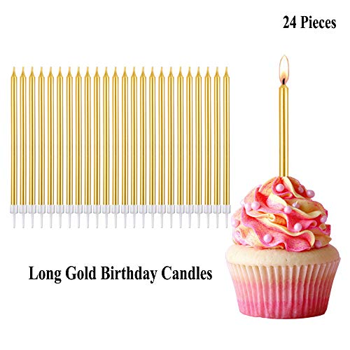 Belleone Long Gold Birthday Candles - Metallic Long Thin Cake Candles in Holders for Cupcake Birthday Cake Shower Wedding Party Decorations, Classy Décor Gold Candles for Adult or Teen Cakes, 24 Pack