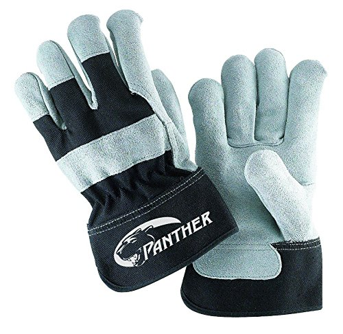 Leather Gloves Cuff Palm (Galeton 2134-XL Panther Select Leather Palm Gloves, Safety Cuff, X-Large, Black/Gray (Pack of 12))