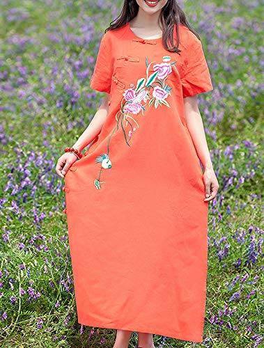 Kleid Q32223 Baumwolle Party Retro Kurzarm Damen Leinen Cocktail Kleider Feiertagskleid Orange Maxi DISSA Lose Ut8dwqU