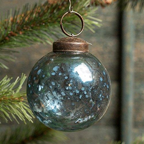 2 In Blue Mercury Glass Kugel Ornament Set/6 -