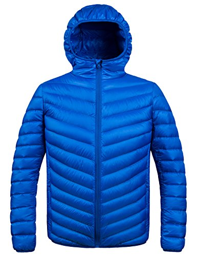 ZSHOW Mens Winter Hooded Packable Down Jacket,Blue,X-Large