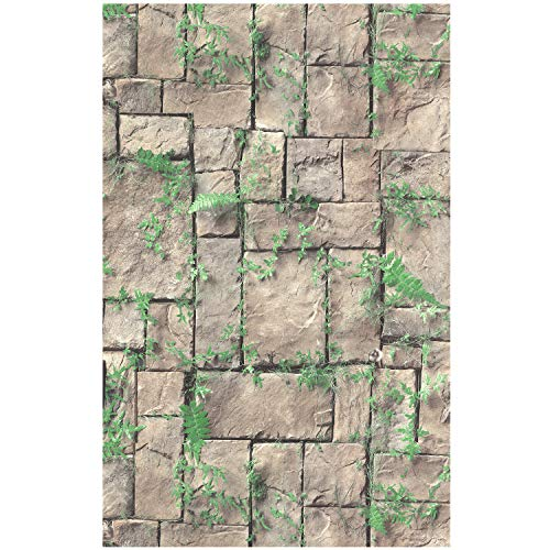 - HaokHome 8501 Brick Wallpaper Grass Leaves Faux Stone Wallpaper 20.8
