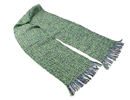 "Mucros Weavers Irish Scarf Mohair & Viscose 8"" x 70"" Green & Purple Made in Ireland"