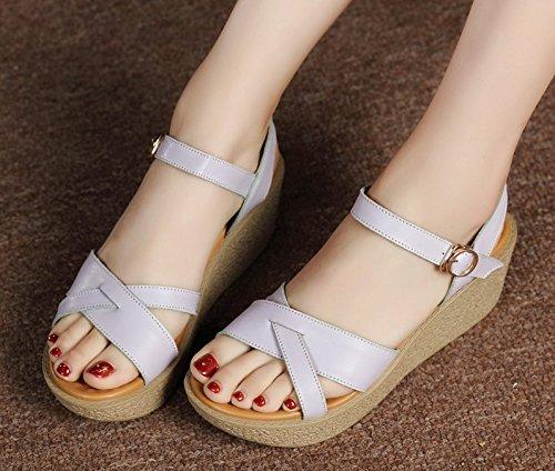 195ec2bd708 Xing Lin Sandalias De Mujer Sandalias De Cuña Zapatos Verano Nuevo Cómodos  Sillones De Cuero Grueso