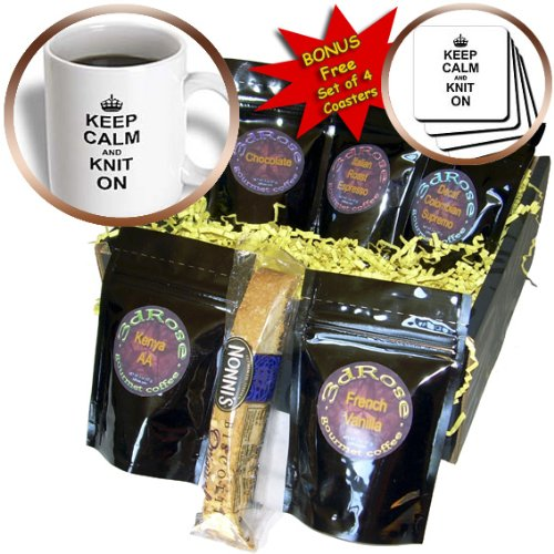 InspirationzStore Typography - Keep Calm and Knit on - carry on knitting - Knitter hobby gifts - black fun funny humor humorous - Coffee Gift Baskets - Coffee Gift Basket (cgb_157736_1) - Gift Baskets For Knitters