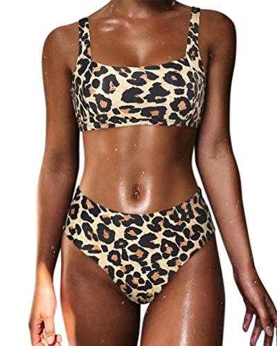 - MOSHENGQI Women Crop Top Bandeau Swimsuits High Waisted Cheeky Bikini Set 2 Pieces (Small, Leopard)