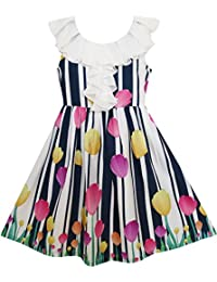 Sunny Fashion Girls Dress Turn-Down Collar Tulip Striped Print Chiffon