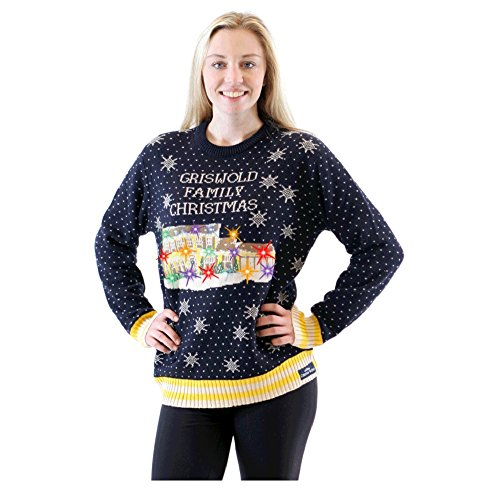 Christmas Vacation Ugly Sweater (Griswold Christmas Vacation Light Up House Navy Ugly Sweater (Adult)