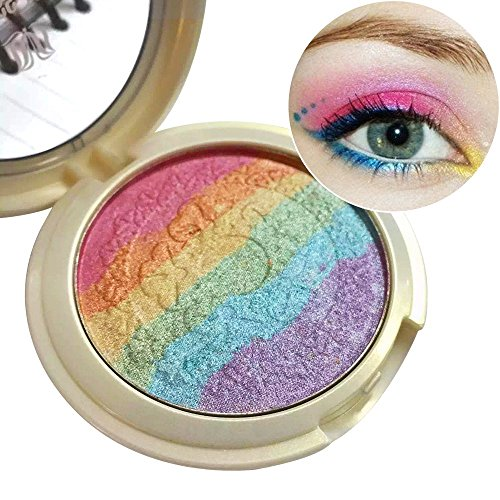 Samtour Rainbow Highlighter Eyeshadow Makeup Palette Powder Makeup Rainbow Cake , 6 colors in 1 - Hours Show Mall Fashion