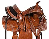 AceRugs 14 15 16 17 18 PLEASURE TRAIL WESTERN BARREL RACER LEATHER HORSE SADDLE HAND TOOLED HEADSTALL REINS BREAST COLLAR (14)