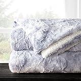 Italian Luxury Egyptian Luxury Super Soft Faux Fur Throw Blanket - Elegant Cozy Hypoallergenic Ultra Plush Machine Washable Shaggy Fleece Blanket - 60