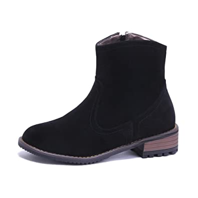 Women's Round Closed Toe Low Heels Frosted Solid Zipper Boots