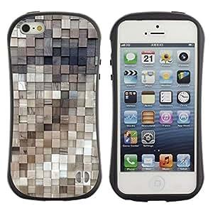 Hypernova Slim Fit Dual Barniz Protector Caso Case Funda Para Apple iPhone SE / iPhone 5 / iPhone 5S [Polygone Or Laiton 3D Motif Bois]