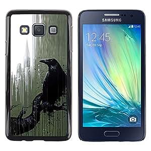 Caucho caso de Shell duro de la cubierta de accesorios de protección BY RAYDREAMMM - Samsung Galaxy A3 SM-A300 - City Nyc Window Rain Art Black