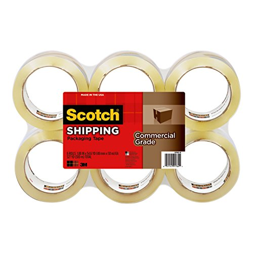"Scotch Commercial Grade Shipping Packaging Tape, 6 Rolls, Excellent Holding Power, 3"" Core, 1.88 in x 54.6 yd (3750-6) from Scotch Brands"