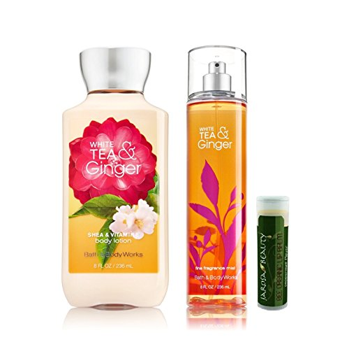 Bath & Body Works White Tea & Ginger Mist 8 oz. & White Tea & Ginger Body Lotion 8 oz. with a Jarosa Bee Organic Natural Peppermint Beeswax Lip Balm