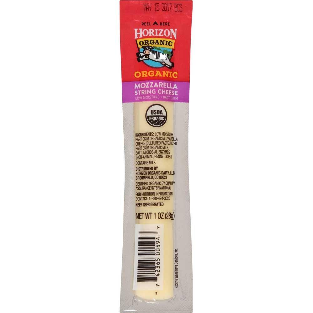Horizon Organic Mozzarella String Cheese Stick, 1 Ounce - 48 per case.