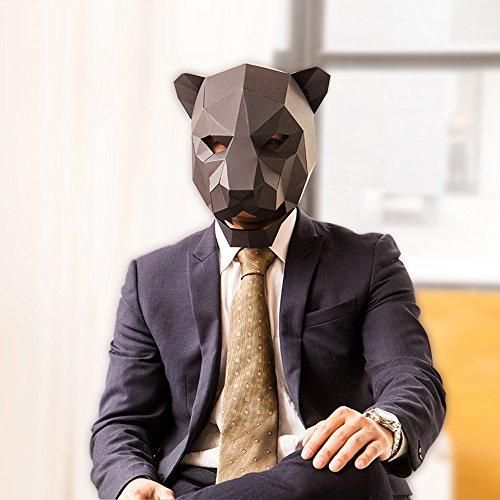 DBMART DIY ジャガーマスク(改良版)型紙 組立おもちゃ 被り物 お面 仮装 変身グッズ パー ティグッズ イベント コスチューム用 ホビー 大人用サイズ アメリカ豹 (ブラック)