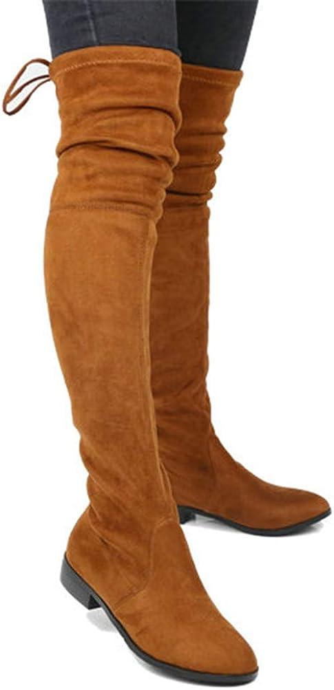 Botas sobre la Rodilla para Mujer Tejido elástico Otoño Invierno con Cordones Tacón Cuadrado Punta Redonda Damas Fiesta Muslo Botas Altas y Delgadas Orange Single LKDE0