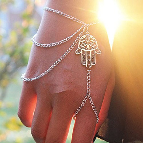 Baigoods Hot sales!Fashion New Silver Hamsa Fatima Bracelet Finger Ring Bangle Slave Multi-Layer Tassel Chain ()