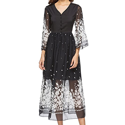 - OldSch001 Women's Lace Maxi Dresses,Double Layer V-Neck Mesh Perspective Splicing Printed Button Dress(Black,S)