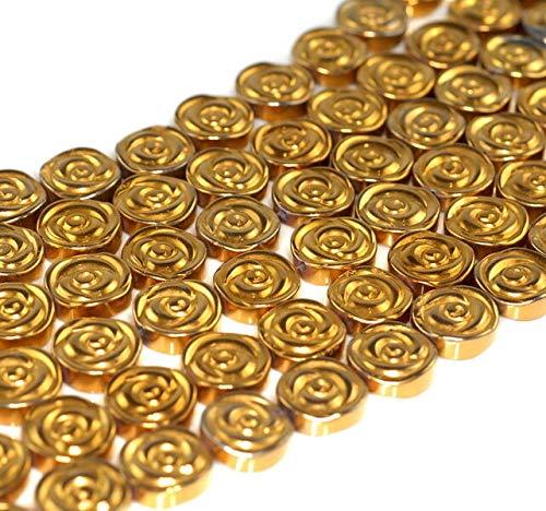 12MM Gold Hematite Gemstone Rose Flower Carved 12MM Loose Beads 16