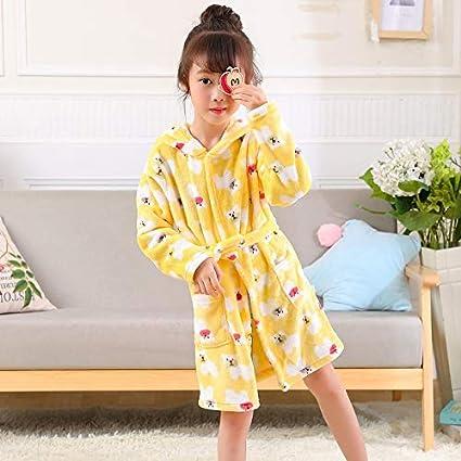 JZLPIN Unisex Baby Hooded Bathrobe Kids Flannel Pajamas Dressing Gown for Boys Girls