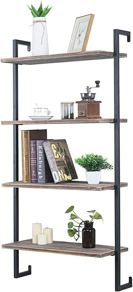 GWH Industrial Metal and Wood Wall Shelf Unit,Rustic Floating Wood Shelves Wall Mounted,24in Iron Real Reclaimed Wood Book Shelves,Hanging Wall Shelves for Bedrooms Office,4 Tier Bookshelf Shelving