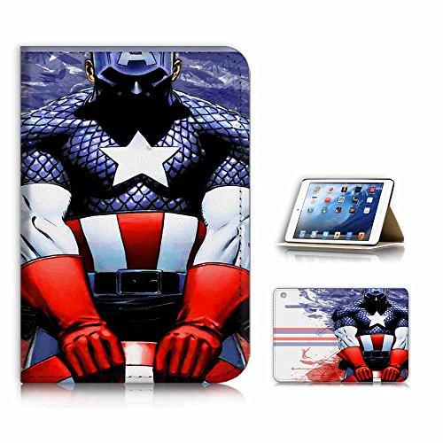 (for iPad Mini 1 2 3, Generation 1/2/3) Flip Case Cover & Screen Protector Bundle - A21010 Captain America (Ipad 2 Mini Captain America)