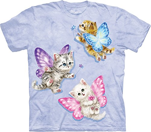 The Mountain Men's Butterfly Kitten Fairies T-Shirt, Purple, (Butterfly Fairy T-shirt)