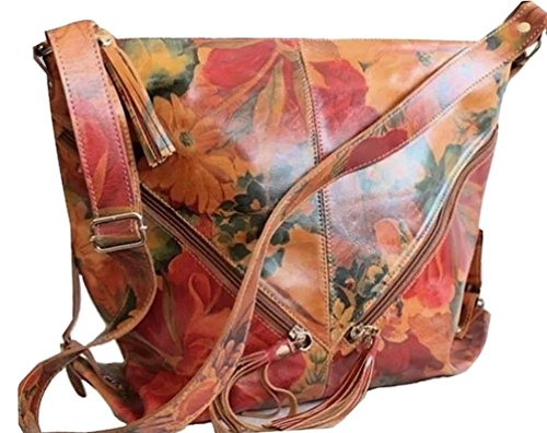 Over Bag Leather Purse Leather Full Sized Floral Grain Travel 100 rzn6Pr8wq