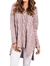 Womens V Neck Long Sleeve Loose Knit Sweater Pullover Top