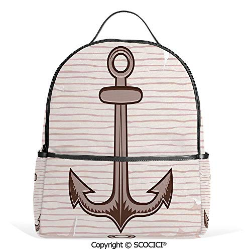 All Over Printed Backpack Anchor in Soft Color Captain Port Rope Diving Being Grounded Hold on Illustration,Cream Brown,For Girls Cute Elementary School Bookbags