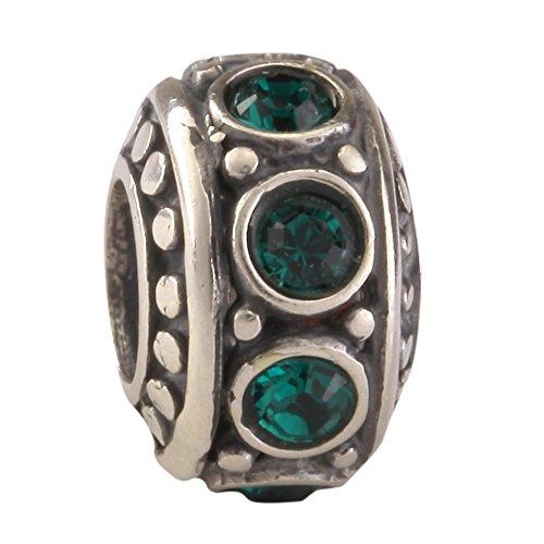Sterling Silver Charm May Birthstone Charm Bead Swarovski Crystal Rhinestone for European Charm Bracelets #EC214