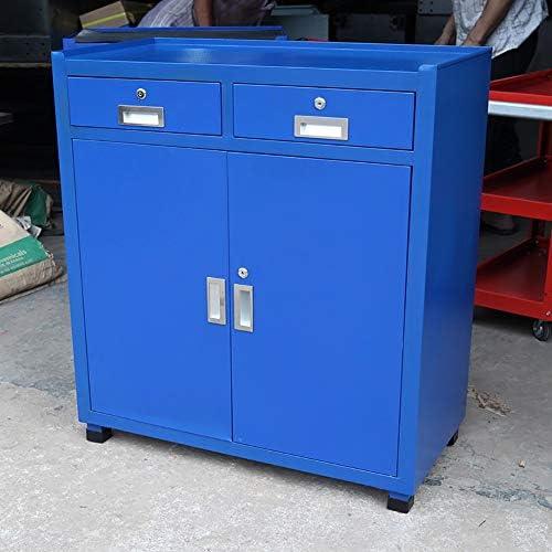 工具入れカート 引き出しプッシュツールカートハードウェアの自動修復ツールで三層構造ツールキャビネットの修復 工具カート キャビネット (色 : 青, Size : 80x40x93cm)