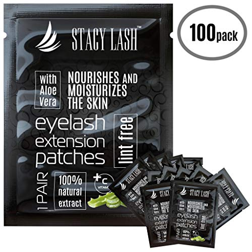 100 Pairs Set Premium Under Eye Gel Pads for Eyelash Extension - Lint Free Patches with Vitamin C and Aloe Vera by Stacy Lash supplies and Beauty tools - Hydrogel Eye Pads - Skin Moisturizes -