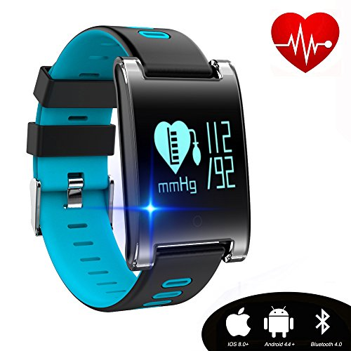 Kingkok Blood Pressure Monitor Touch Screen Personal Fitness Tracker Waterproof Pedometer Heart Rate Activity Tracker Watch [Blue]