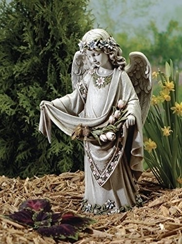 16.5'' Joseph's Studio Angel Holding Skirt with Birds Outdoor Garden Statue by Roman