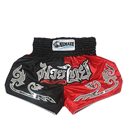 NAMAZU Muay Thai Shorts for Men and Women, High Grade MMA Gym Boxing Kickboxing Shorts Workout Training Grappling Martial Arts Fight Shorts Clothing, 3black&red, XL-FIT WAIST 30