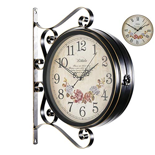 YHEGV Irons and Ironing Board, Alarm Clocks Double opsite flexigrid The Parliament of Retro Style [The Former] Double Lounge Wall Clock Clock Mute Decoration of The Crafts Budget-C