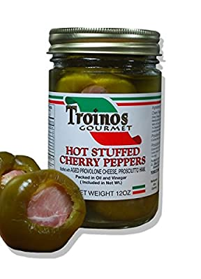 Troino's Gourmet Hot Stuffed Cherry Peppers with Prosciutto & Provolone by Rachel's Table LLC