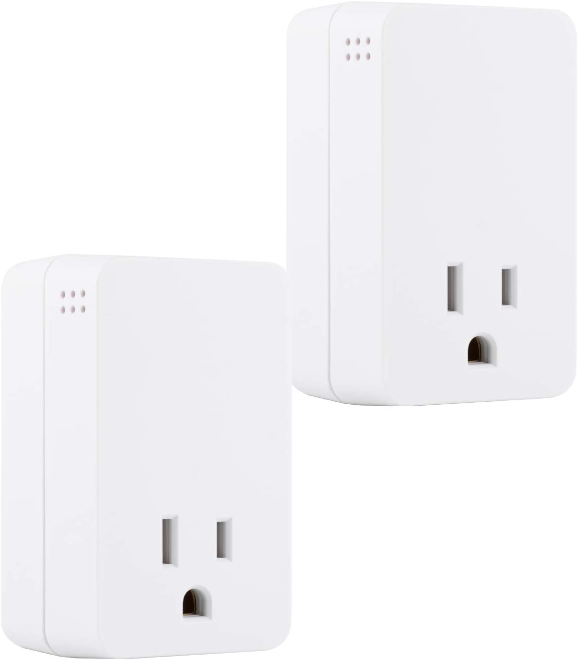 GE UltraPro Surge Protector with Audible End of Service Alarm, 2 Pack, Fits Behind Hard-to-Reach Areas, 1 Outlet, 1080 Joules Protection Rating, 53868, White