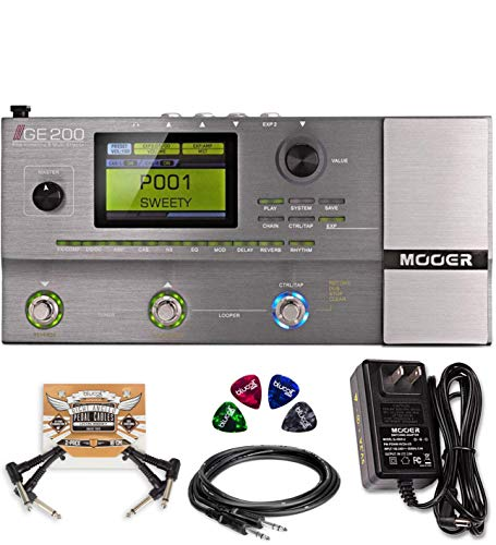 External Power Array Cabinet - MOOER GE200 Multi Effects Pedal with Amp Modeling Bundle with MOOER 9V DC External Power Supply with AC Adapter, Hosa 5' Straight Instrument Cable (1/4
