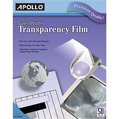 (Apollo Transparency Film for Laser Printers, Black on Clear, 50 Sheets/Pack (CG7060))