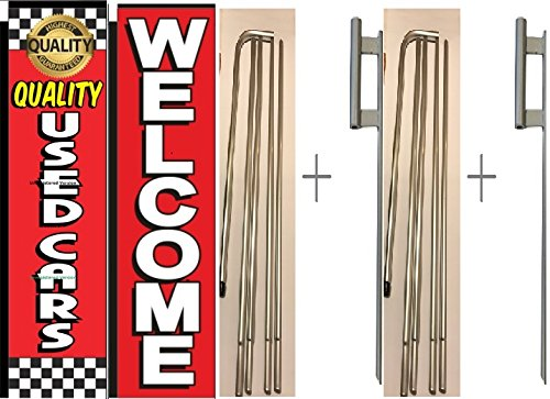 Pack of 2 Quality Used Cars Welcome Giant Boomer Rectangle Flag 3 ft x 12 ft Kit With Pole and Ground Spike