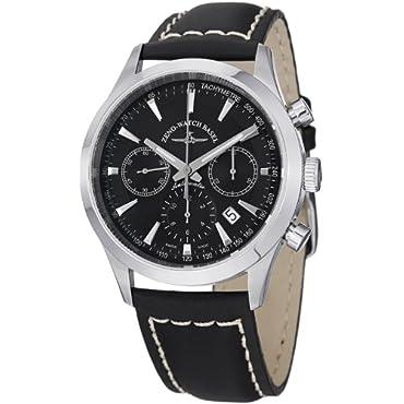 Zeno Men's Vintage Line Black Dial Black Leather Strap Chrono Watch 6662-7753-G1