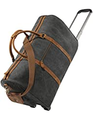 Kattee Rolling Duffle Bag with Wheels Canvas Travel Luggage Duffel Bag 50L