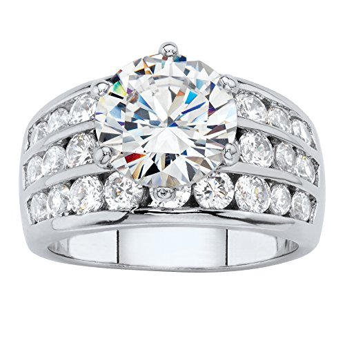 Round White Cubic Zirconia Platinum-Plated Channel-Set Bridal Engagement Ring Size 6 Diamonique Channel Set