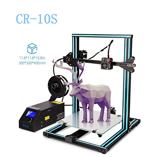 Creality 3D Printer CR-10S New Version with Filament Monitor Upgraded Dual Z axis,Large Printing Size 300x300x400mm Filament 0.4mm Nozzle(with Blue Color Decorative Strips Inside)